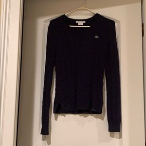 Lacoste cable knit sweater - navy